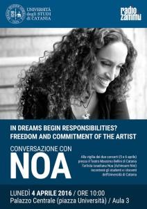 Peri Peri Eventi a Catania - Il quattro aprile Noa incontra docenti e studenti dell'Ateneo catanese